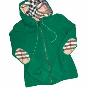 Burberry green hoodie signature plaid accents
